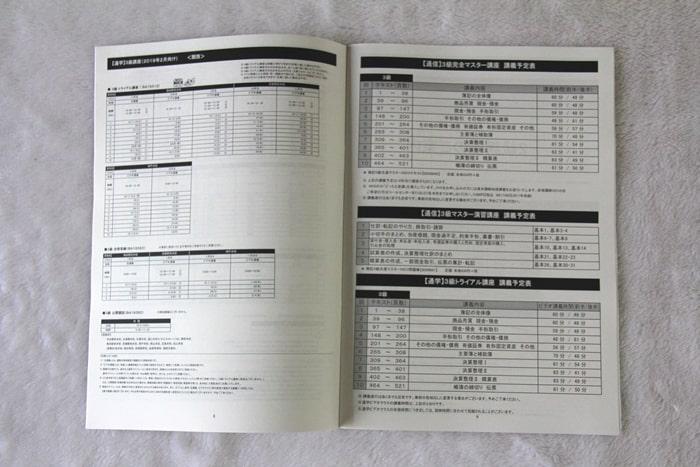 LECの日商簿記講座の講義予定表
